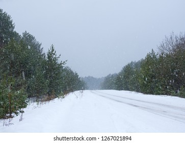Heavy snowfall on the road