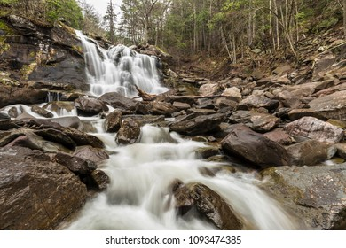 Heavy Spring water flow over Bastion Falls on Spruce Creek, downstream from Kaaterskill Falls off Route 23A in Haines Falls, New York.