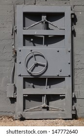 Heavy steel door in the bomb shelter