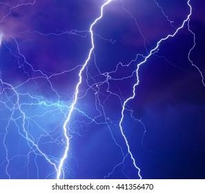 Heavy storm bringing thunder, lightnings and rain.