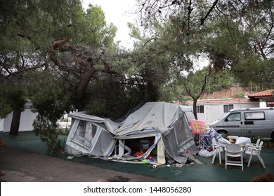 Heavy storm at camping Castello in Halkidiki, Sithonia, Greece damaged trailers and tents, 10th and 11th July 2019.