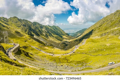 Heavy tourism traffic on Transfagarasan pass. Crossing Carpathian mountains in Romania, Transfagarasan is one of the most spectacular mountain roads in the world.