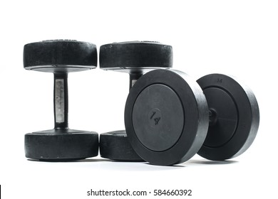 Heavy training weights isolated on white background.