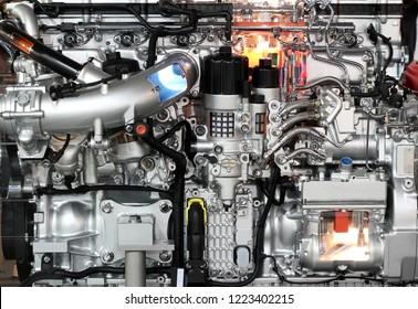 heavy truck diesel engine close up