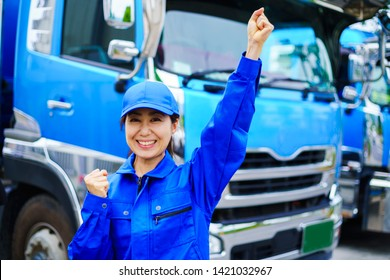 Heavy truck and driver woman