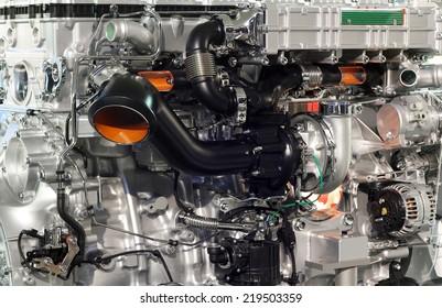 heavy truck engine closeup transport