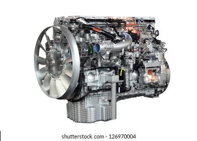 heavy truck engine isolated on white background