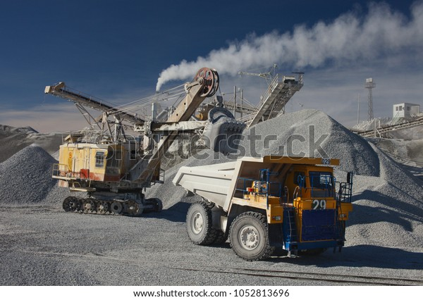 Heavy Truck Excavator Rock Stone Crushing Stock Photo (Edit Now