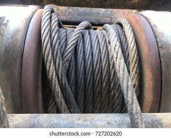 Heavy  winch cable machine part in site