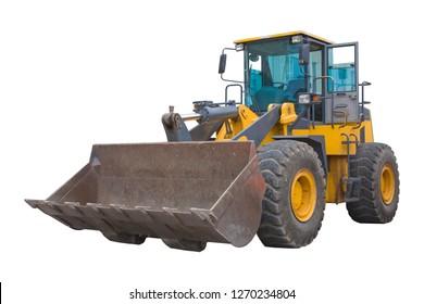 Heavy yellow bulldozer isolated