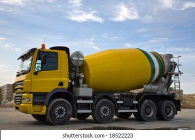 Heavy Yellow Concrete Truck