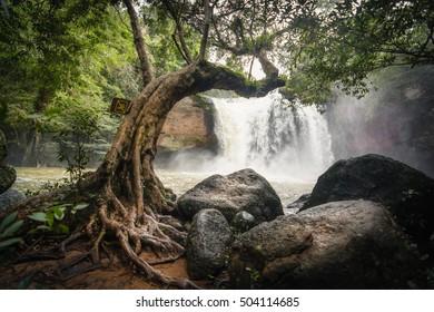 Heaw Suwat Waterfalls. Location: Khao Yai National Park, Thailand. Dong Phayayen-Khao Yai Forest Complex