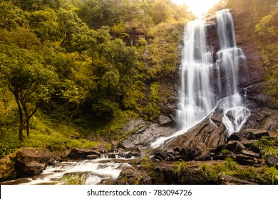 Hebbe falls in Chikmagalur, Karnataka, India. Beautiful waterfalls in Bhadra tiger reserve forest. Amazing and serene greenery. Good for tourism. Incredible India and western ghats. Kemmangundi