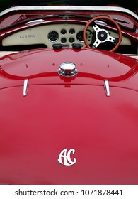 Hebden Bridge, West Yorkshire, England - August 5 2018: Rear view of a rare Vintage AC Cobra Sports Car on display at the Annual Hebden Bridge Vintage Weekend Vehicle Show