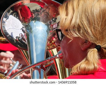 hebden bridge, west yorkshire, united kingdom - 18 june 2017: a woman playing at the annual hebden bridge amateur brass band contest