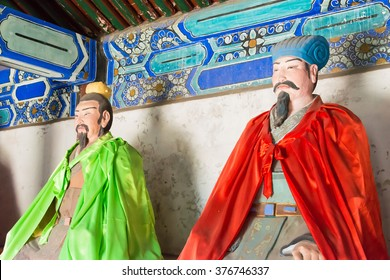 HEBEI, CHINA - Oct 13 2015: Statues of Pang Tong and Zhuge Liang at Sanyi Temple. a famous historic site in Zhuozhou, Hebei, China.