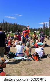 Heber City, Utah, USA. 7/4/14  A group prays for peace at the rainbow gathering.
