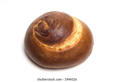 Hebrew Spiral Challah Loaf of Bread on White Background