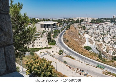 the hebrew university hadassah hospital campus and two palestinian neighborhoods on mount scopus in east jerusalem from the art school building