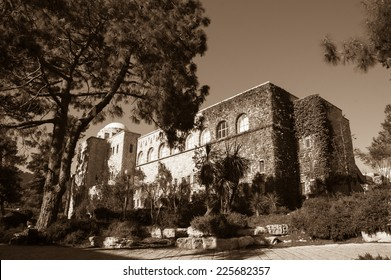 The Hebrew University of Jerusalem. Faculty of Law building. Jerusalem, Israel. Aged photo. Sepia.