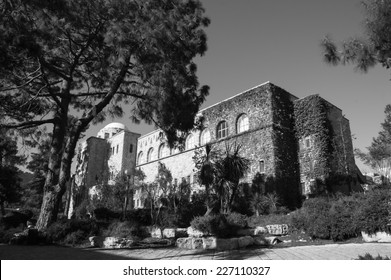 The Hebrew University of Jerusalem. Faculty of Law building. Jerusalem, Israel. Aged photo. Black and white.