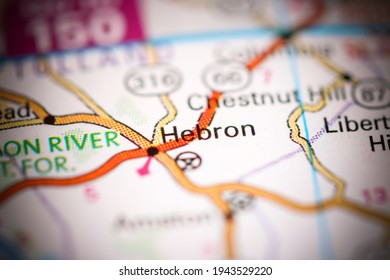 Hebron. Connecticut. USA on a geography map