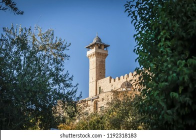 HEBRON, ISRAEL / PALESTINE. September 25, 2018. The exterior view of the Cave of the Patriarchs complex where the Forefathers of the Jewish people and Islam are believed to be buried.