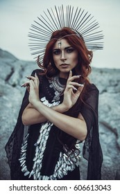 Hecate goddess cosplay with redhead model girl