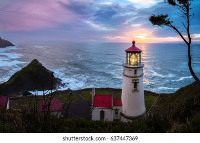 Heceta Head Light Lighthouse Sunset