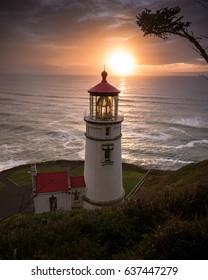 Heceta Head Light Lighthouse Sunsetting Evening