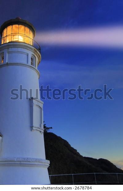 heceta head lighthouse, oregon pacific coast, at night, beam enhanced