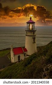 Heceta Head Lighthouse at sumset near Florence Oregon.