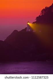 HECETA HEAD, OREGON, USA - JULY 19, 2009: Heceta Head lighthouse on Oregon coast at night.