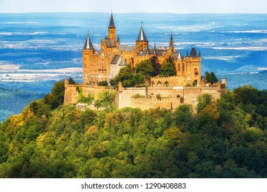 Hechingen, Germany - August 17, 2018: German Kaiser's Hohenzollern castle, situated in Black Forest by Stuttgart, Germany
