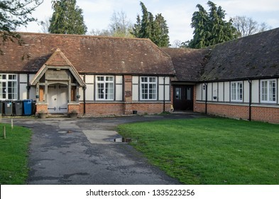 HECKFIELD, UK - MARCH 10, 2019: View of the historic Heckfield Memorial Hall dating from the 19th Century, it is considered to be one of the best village halls in Hampshire.