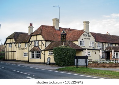 HECKFIELD, UK - MARCH 10, 2019: View of the historic coaching inn - The New Inn, Heckfield on the Odiham to Reading road in Hampshire.  Dating back to Tudor times the Inn offers food, drink and rooms.