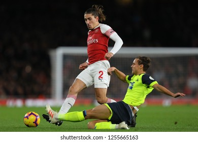 Hector Bellerin of Arsenal and Chris Lowe of Huddersfield Town - Arsenal v Huddersfield Town, Premier League, Emirates Stadium, London (Holloway) - 8th December 2018