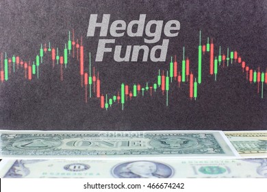 Hedge Fund written on candlestick blackboard with dollar background. Stock Trading concept