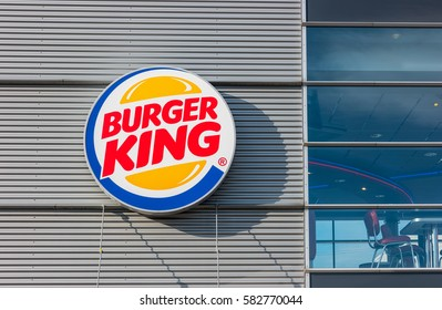 HEERLEN, NETHERLANDS FEBRUARY, 2017: Burger King sign. Burger King, often abbreviated as BK, is a global chain of hamburger fast food restaurants,United States.