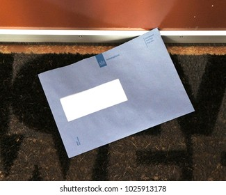 Heerlen, Netherlands. February 2018. Official blue envelope from the Dutch Tax and Customs Administration (Dutch: Belastingdienst).