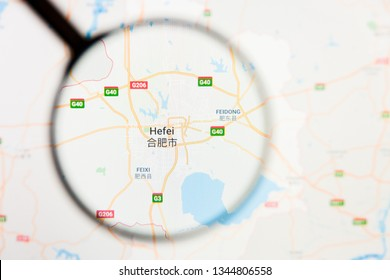 Hefei, China city visualization illustrative concept on display screen through magnifying glass