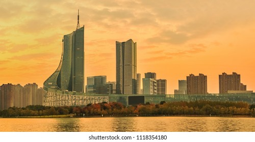 Hefei City, Anhui Province Swan Lake Financial Business District High-rise Building Landscape