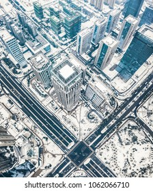 Hefei Government District Snow Aerial Photography