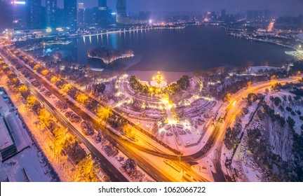 Hefei Government District Snowy Night City Scenery