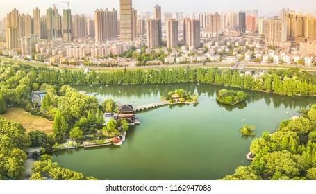 Hefei Xiaoyaojin Park aerial photography