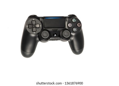HEGGENES - MARCH 31: Top view of PlayStation Dualshock 4 black wireless video game controller for gamers, isolated on white background, March 31. 2019 in Heggenes, Norway