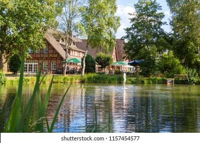 Lüneburger Heide, Germany – 08.07.2018: The village Undeloh the tourism magnet in the Lüneburg Heath, Nature Reserve, Nature Park. Northern Germany