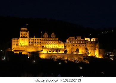 Heidelberg Castle atmospheric in the evening