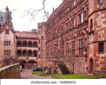 Heidelberg castle courtyard. Germany.