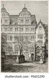 Heidelberg castle: Fredrick IV palace. Created by Stroobant, published on Le Tour Du Monde, Paris, 1867